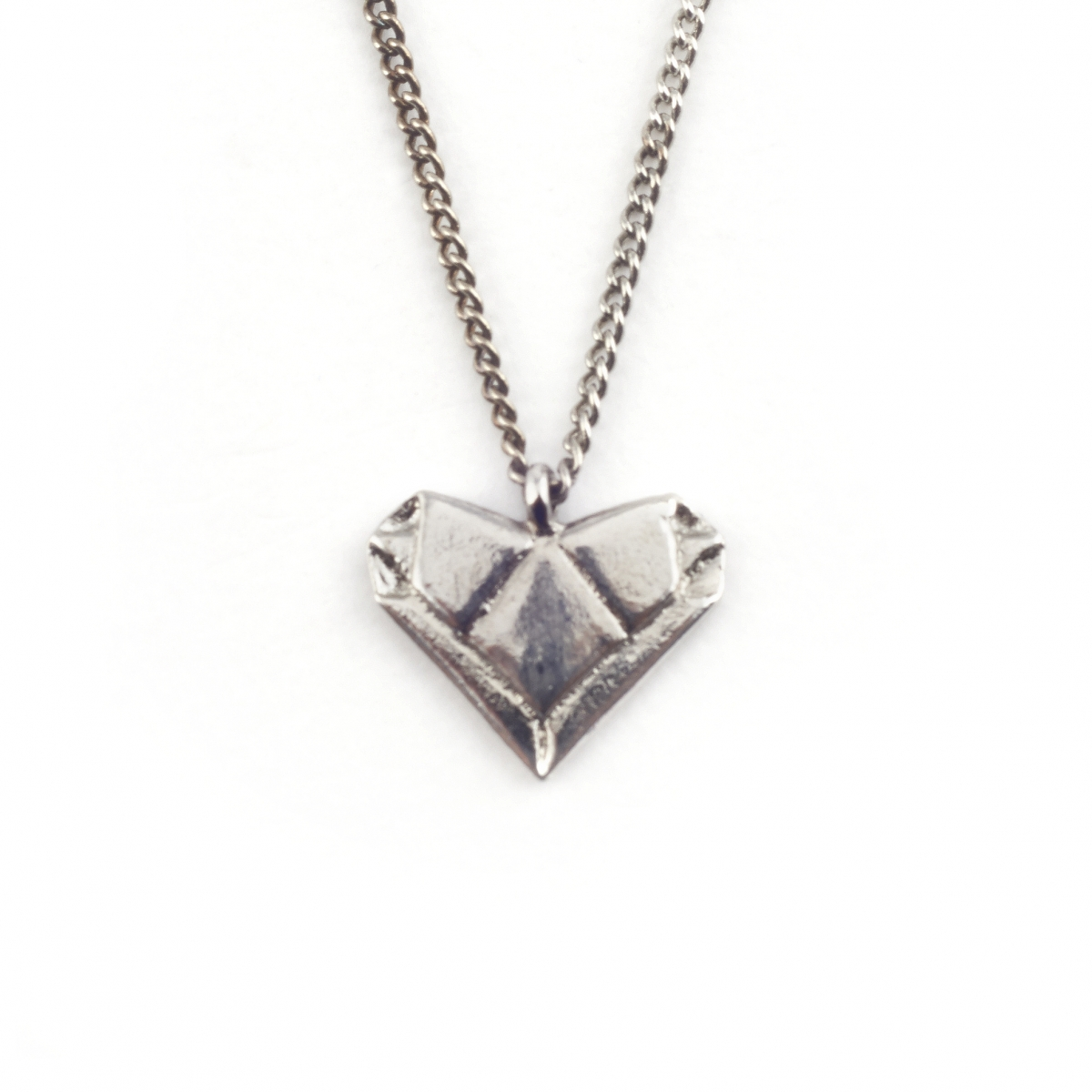 SILVER ORIGAMI HEART PENDANT | Fashion Jewellery - photo#48