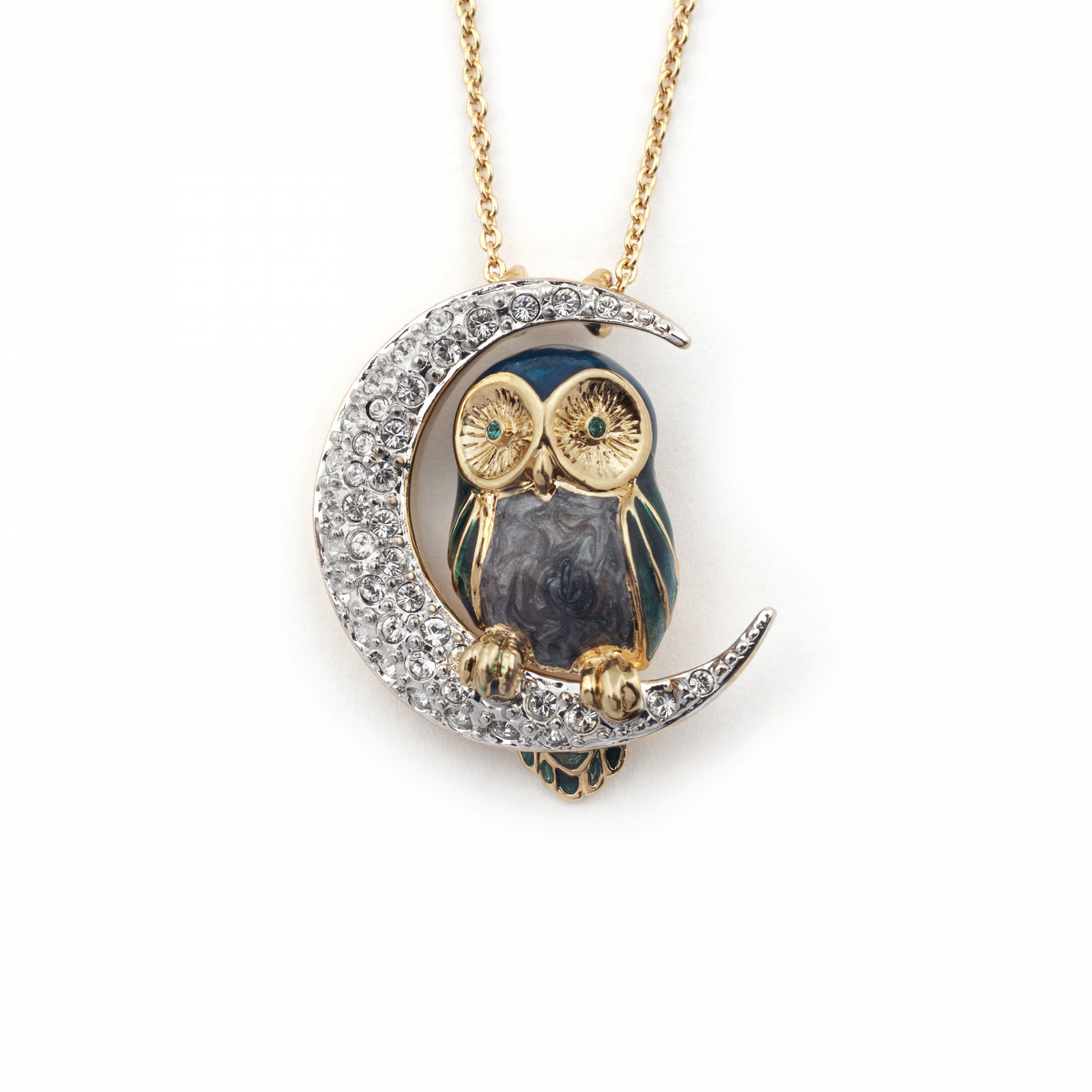 Owl & Moon Pendant Blue