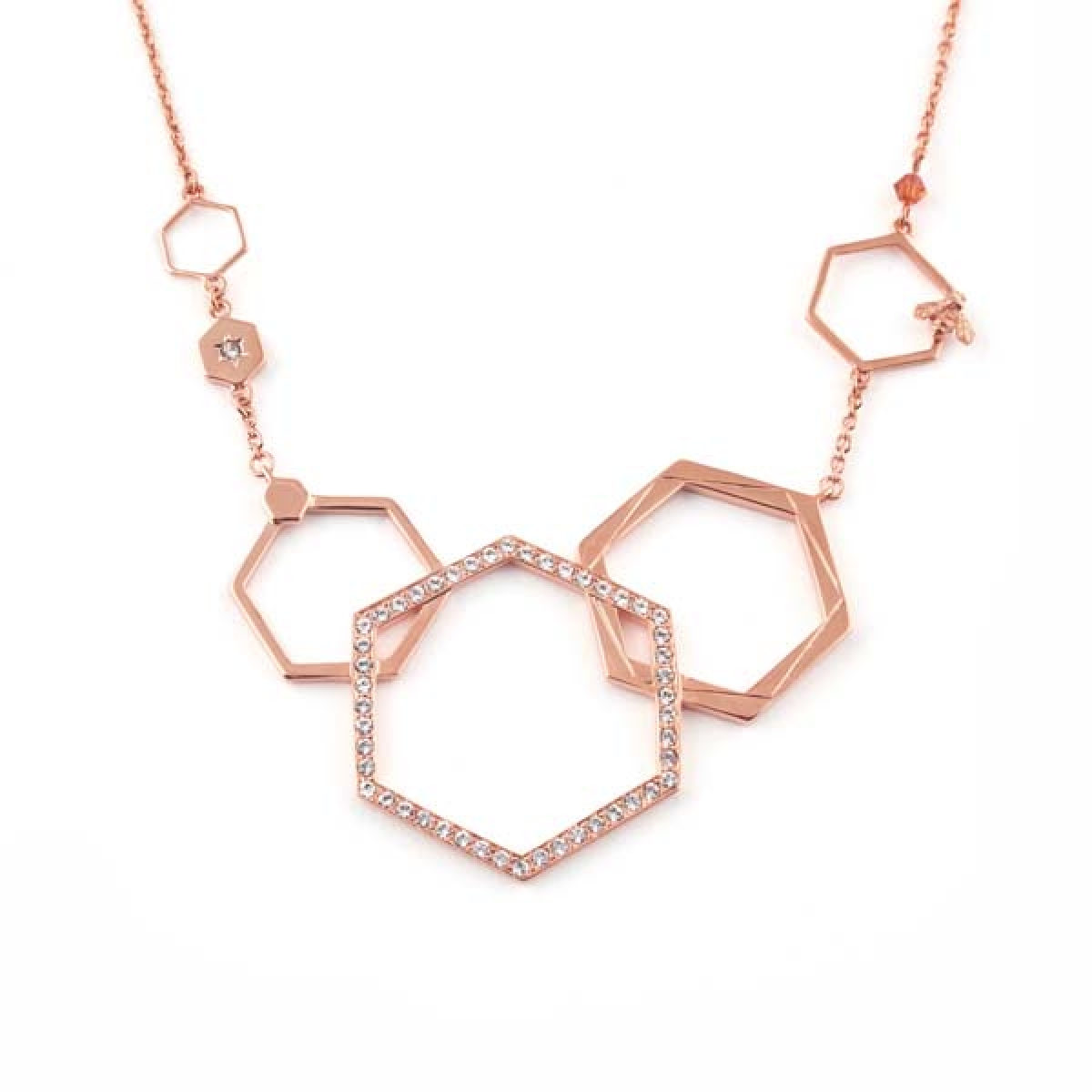 Hexagon Bee Necklace Rose Gold
