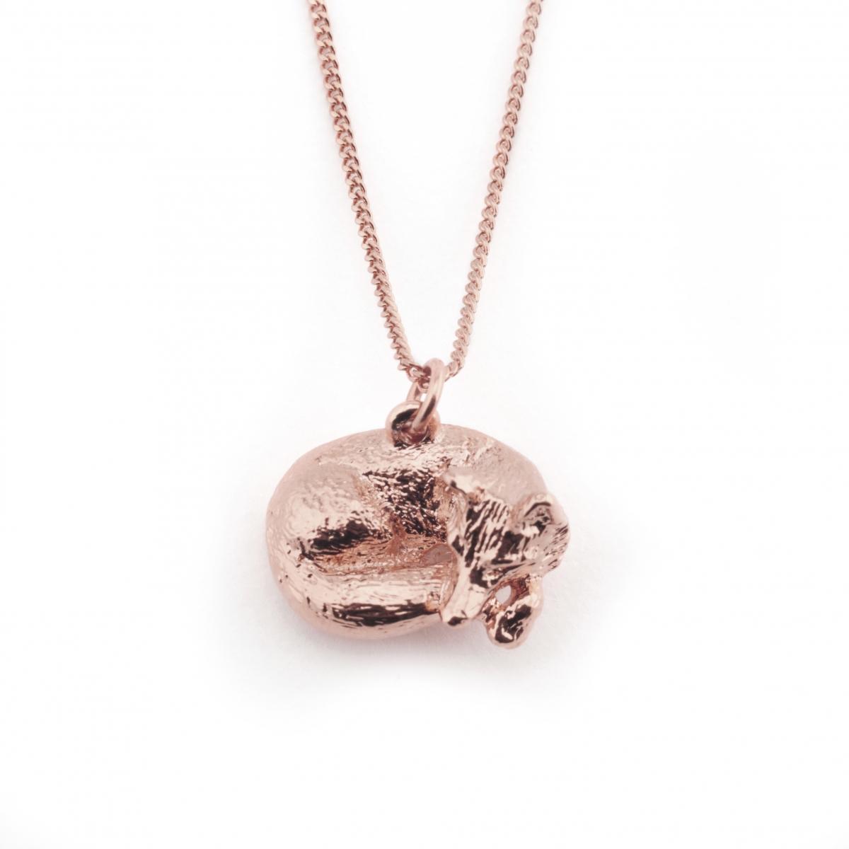 exclusive sleeping fox pendant gold