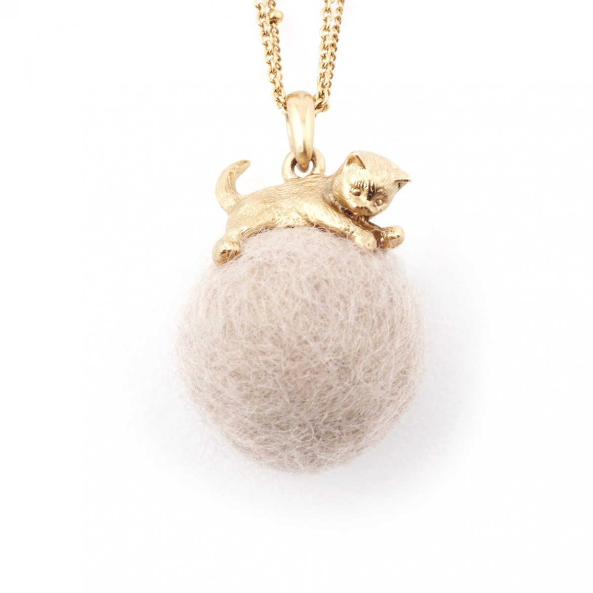 Kitten with Wool Ball Pendant (Cream) Gold