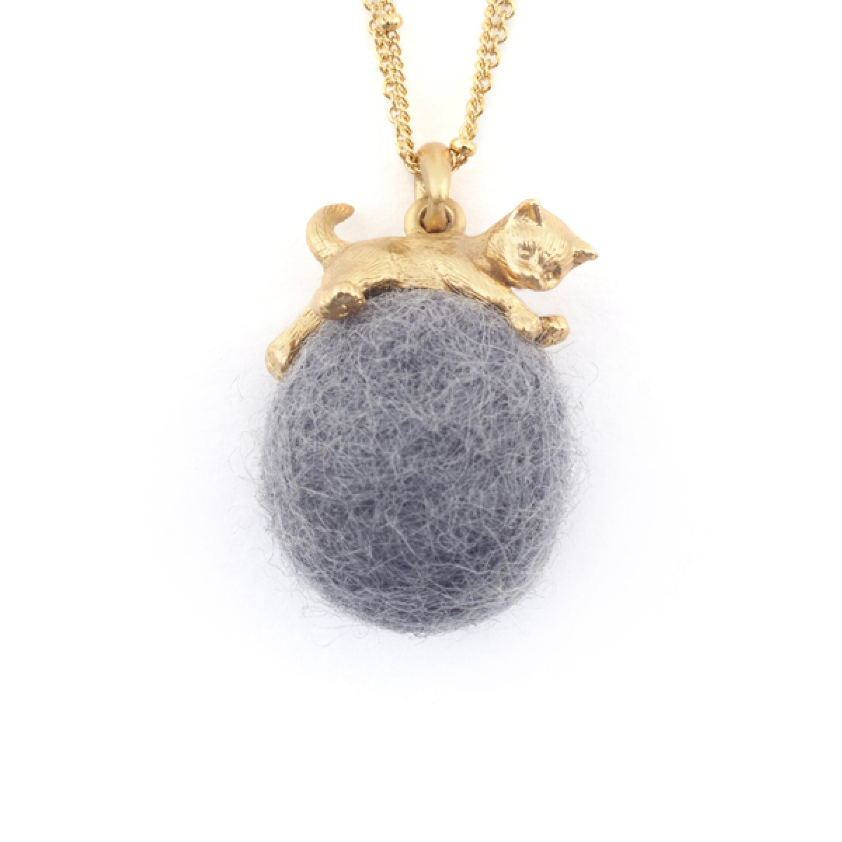 Kitten with Wool Ball Pendant (Grey)