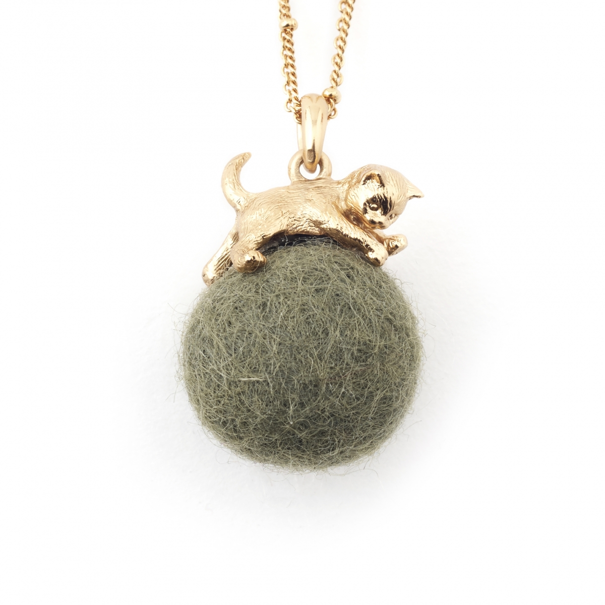 Kitten with Wool Ball Pendant (Khaki) Gold
