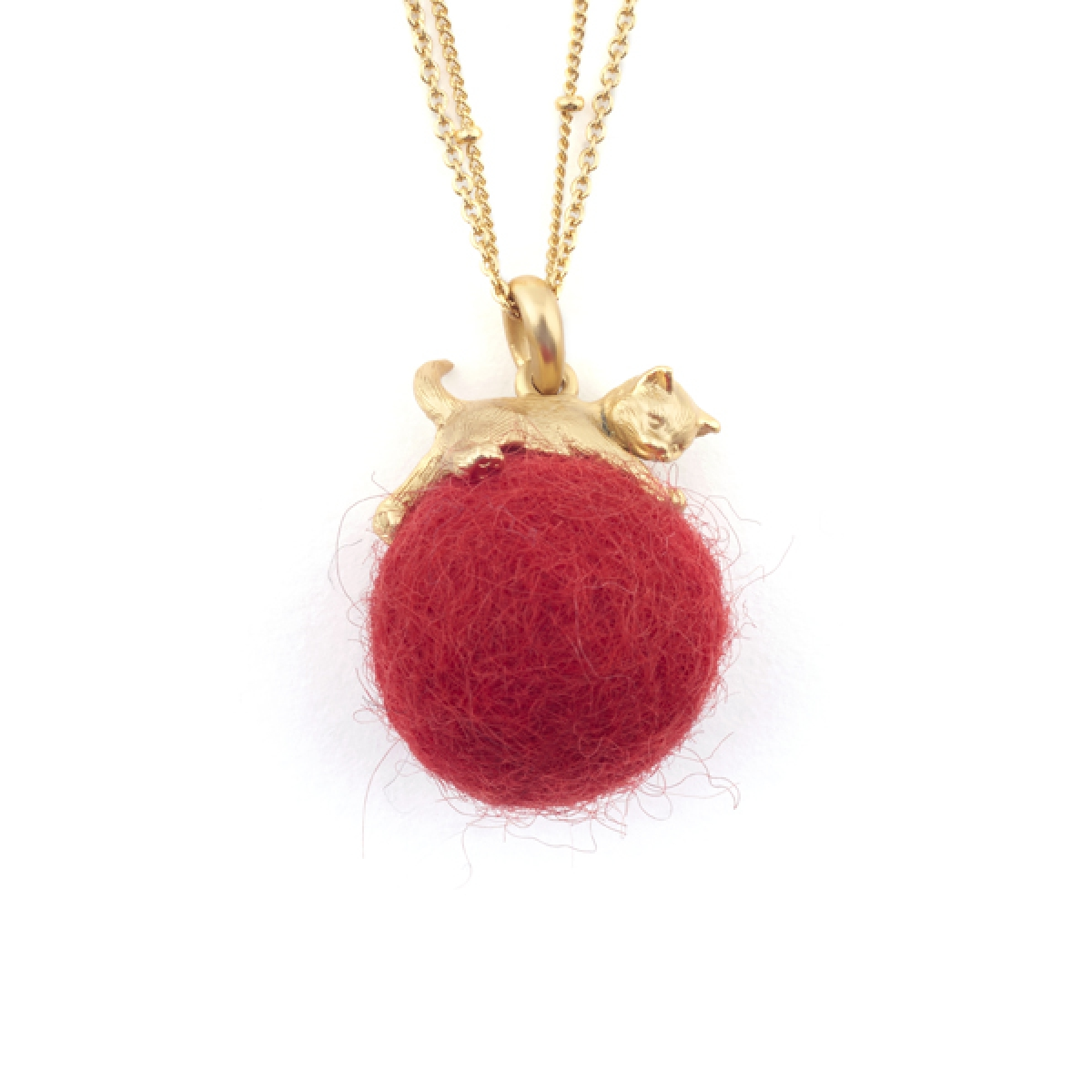 Kitten with Wool Ball Pendant (Red)