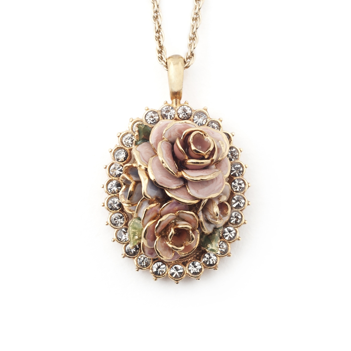 Vintage Rose Cameo Pendant