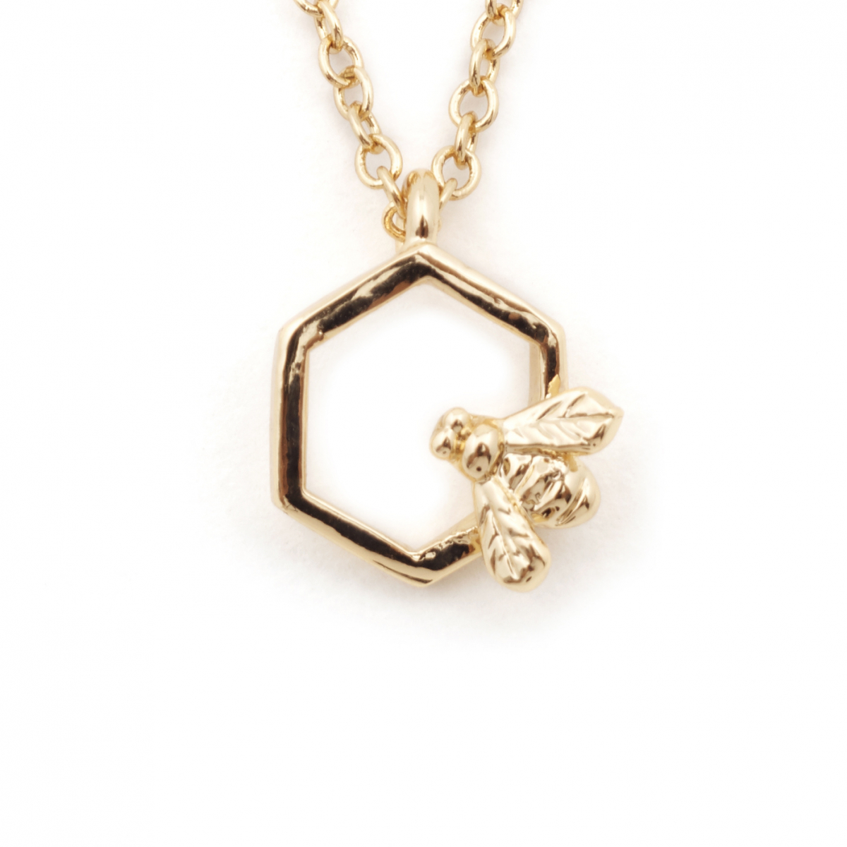 Bee & Hexagon Mini Pendant - Gold