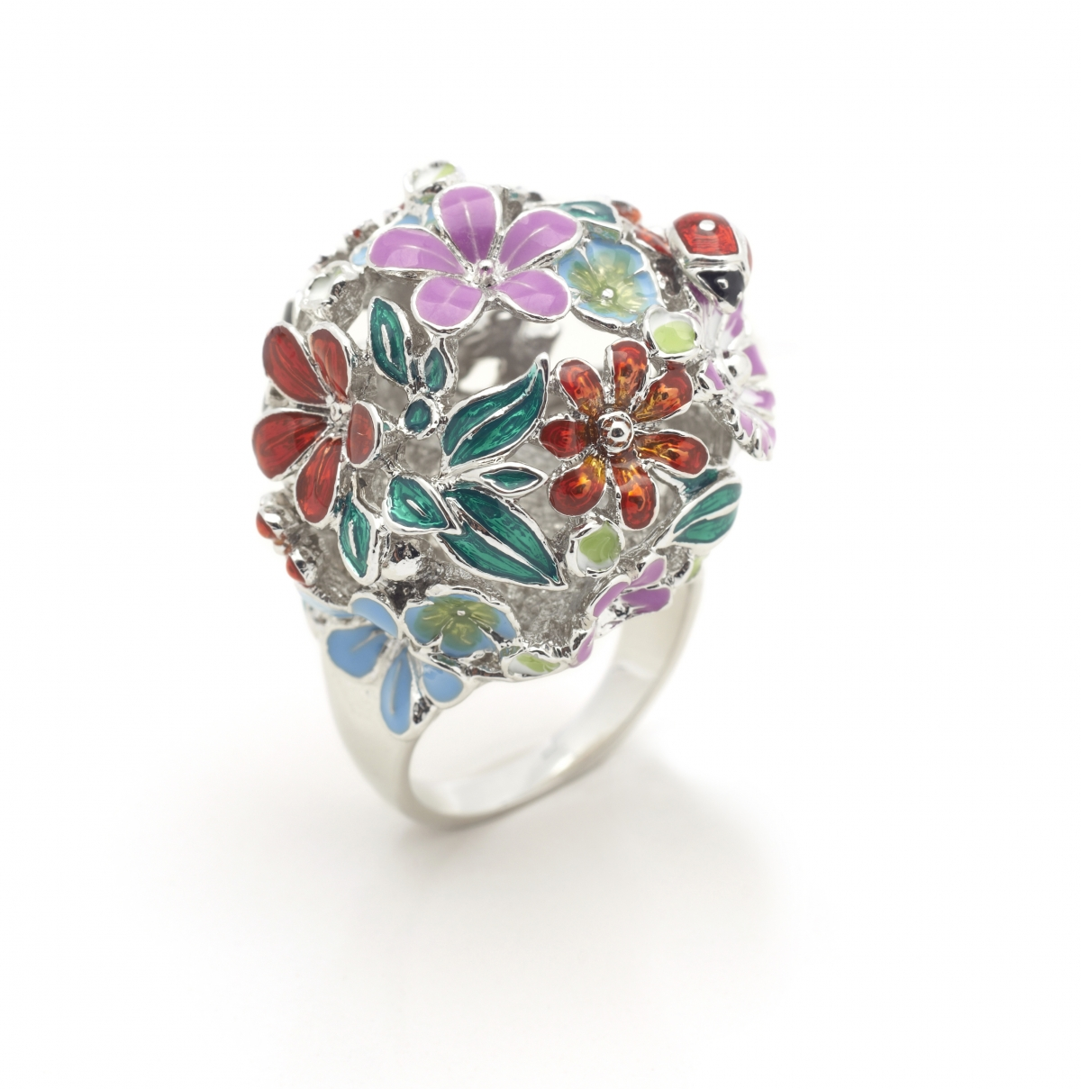 FLORAL ORB RING (SILVER)