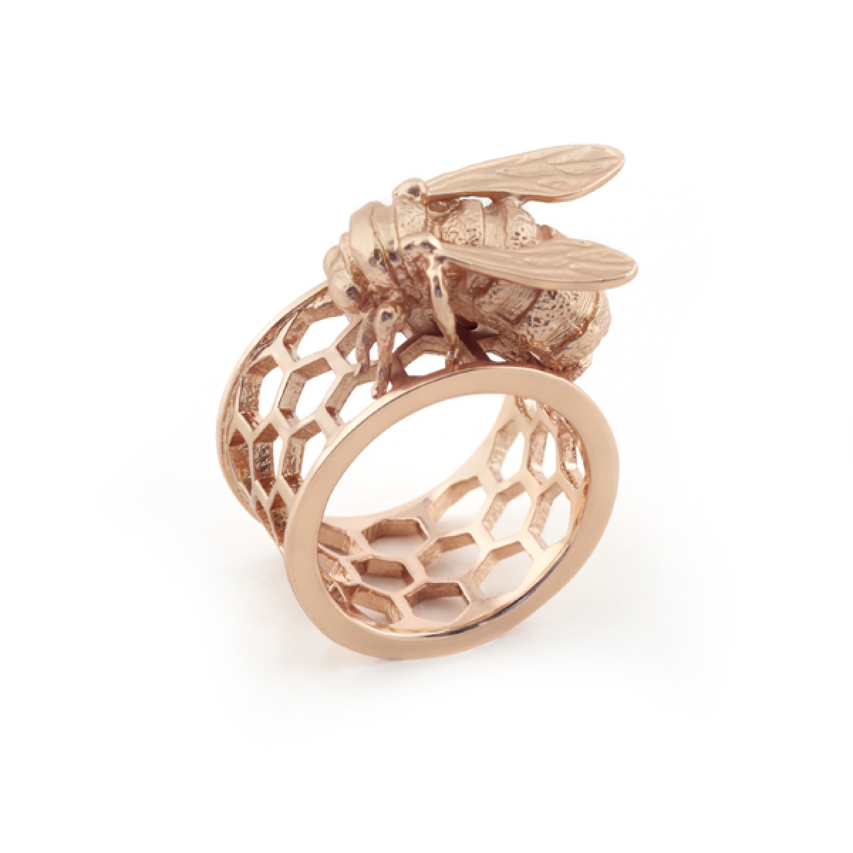 Bee & Honeycomb Ring Rose Gold