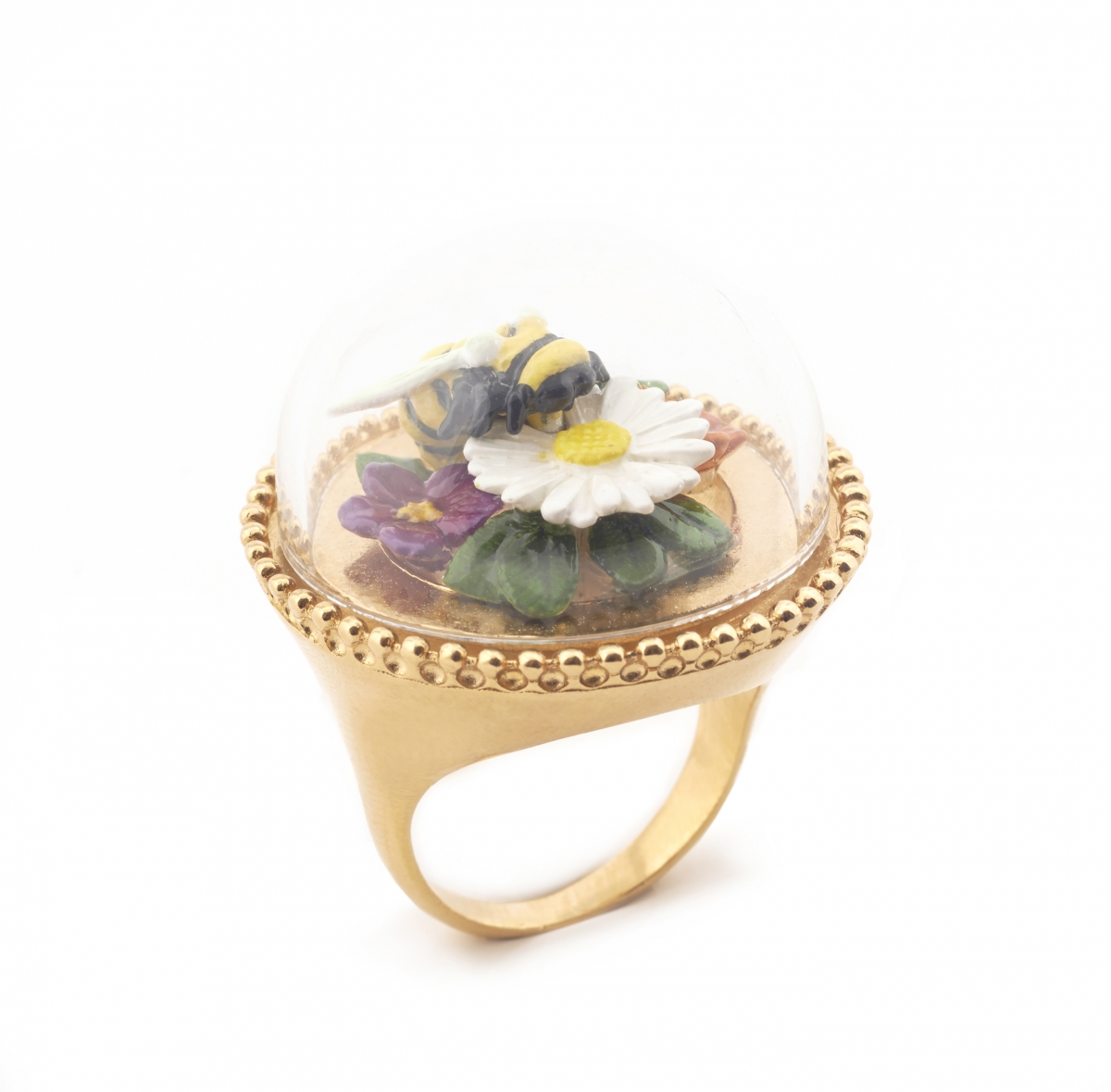 Curios Bee & Floral Ring - Medium Size Only