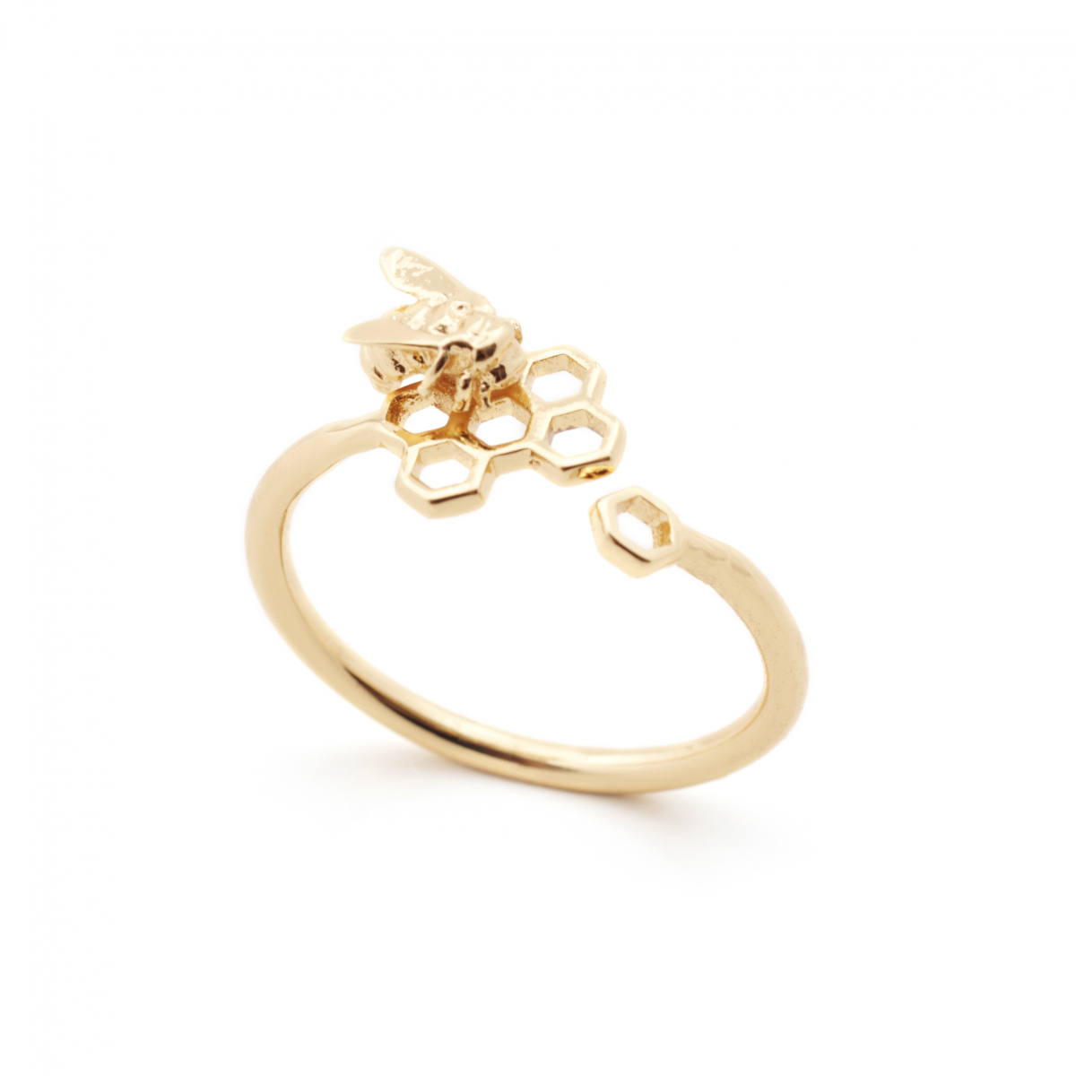 Hexagon Bee Amp Honeycomb Bee Open Ring One Size Fashion