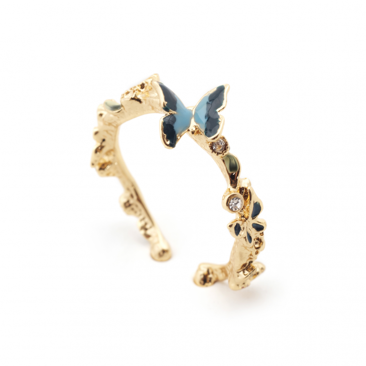 Butterfly & Crystal Open Ring - Gold
