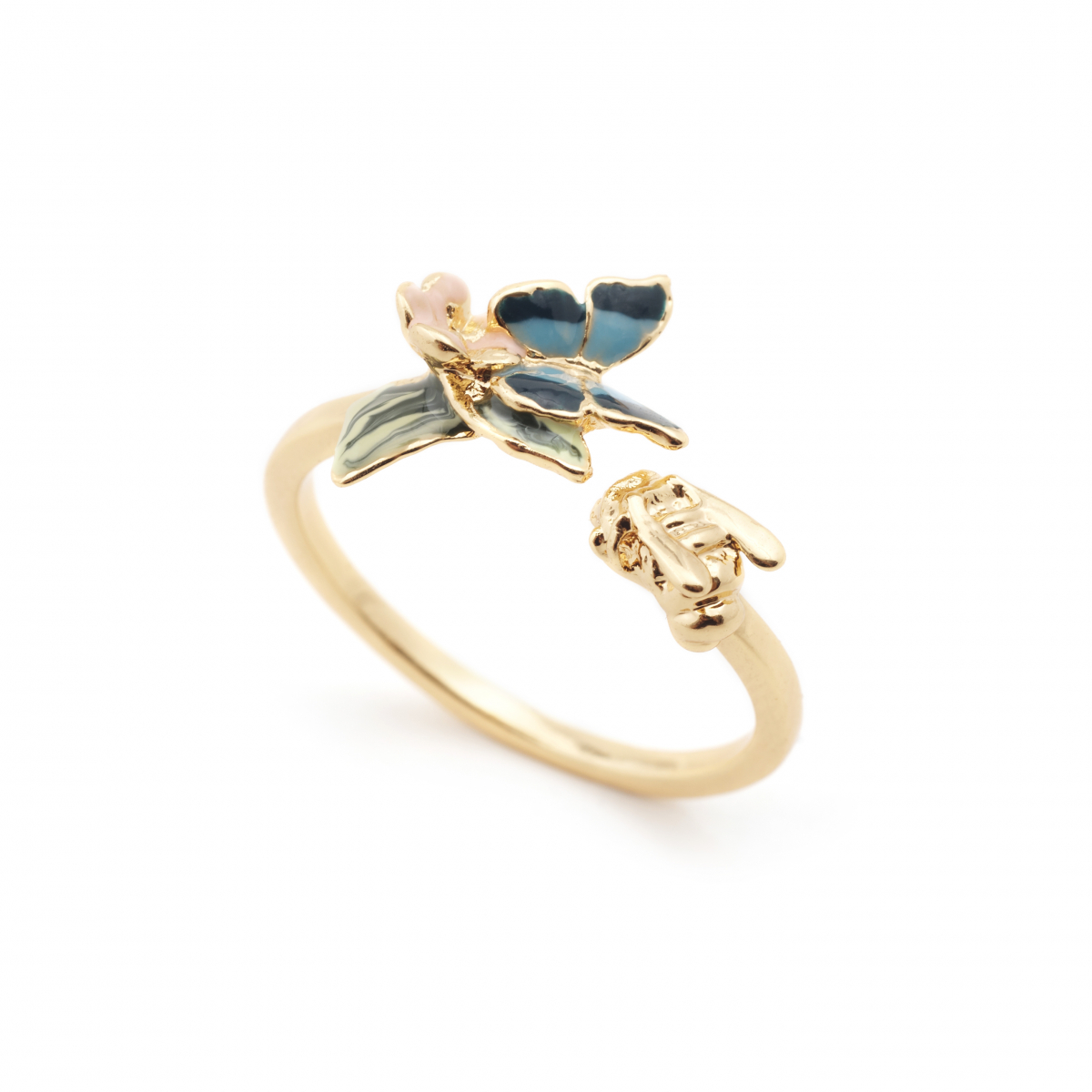 Butterfly & Floral Open Ring - Gold