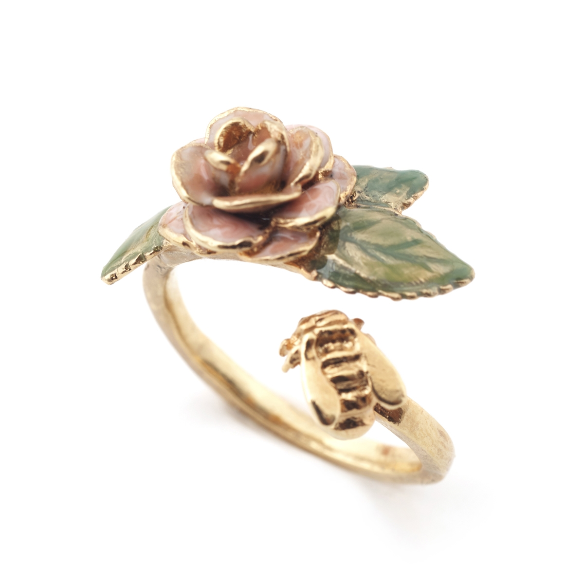 Bee & Vintage Rose Open Ring