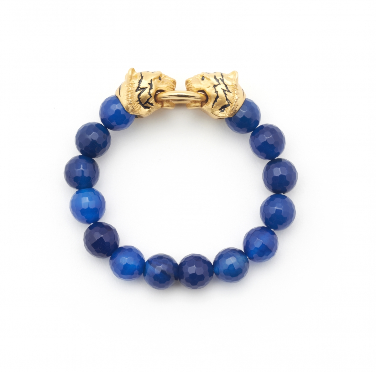 TIGER STRETCH DARK BLUE AGATE BRACELET
