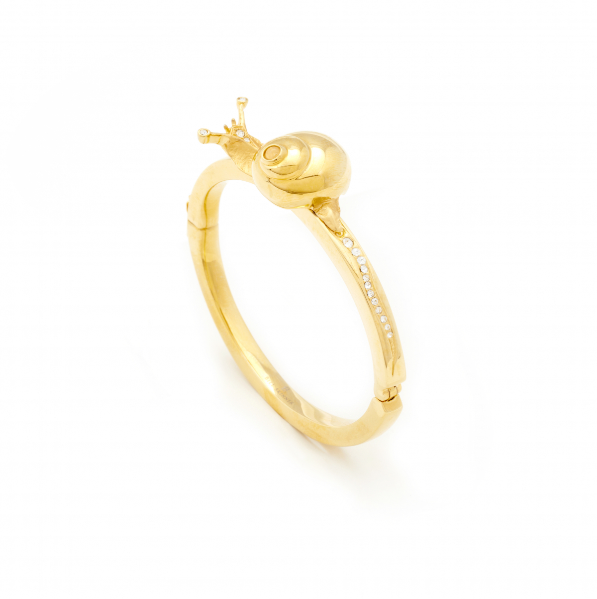 Snail & Crystal Bangle - Gold