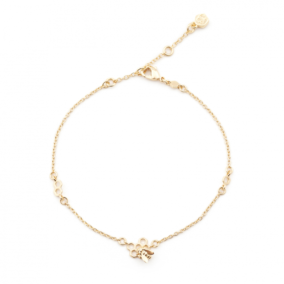 Hexagon Bee & Honeycomb Bee Charm Station Bracelet - Gold