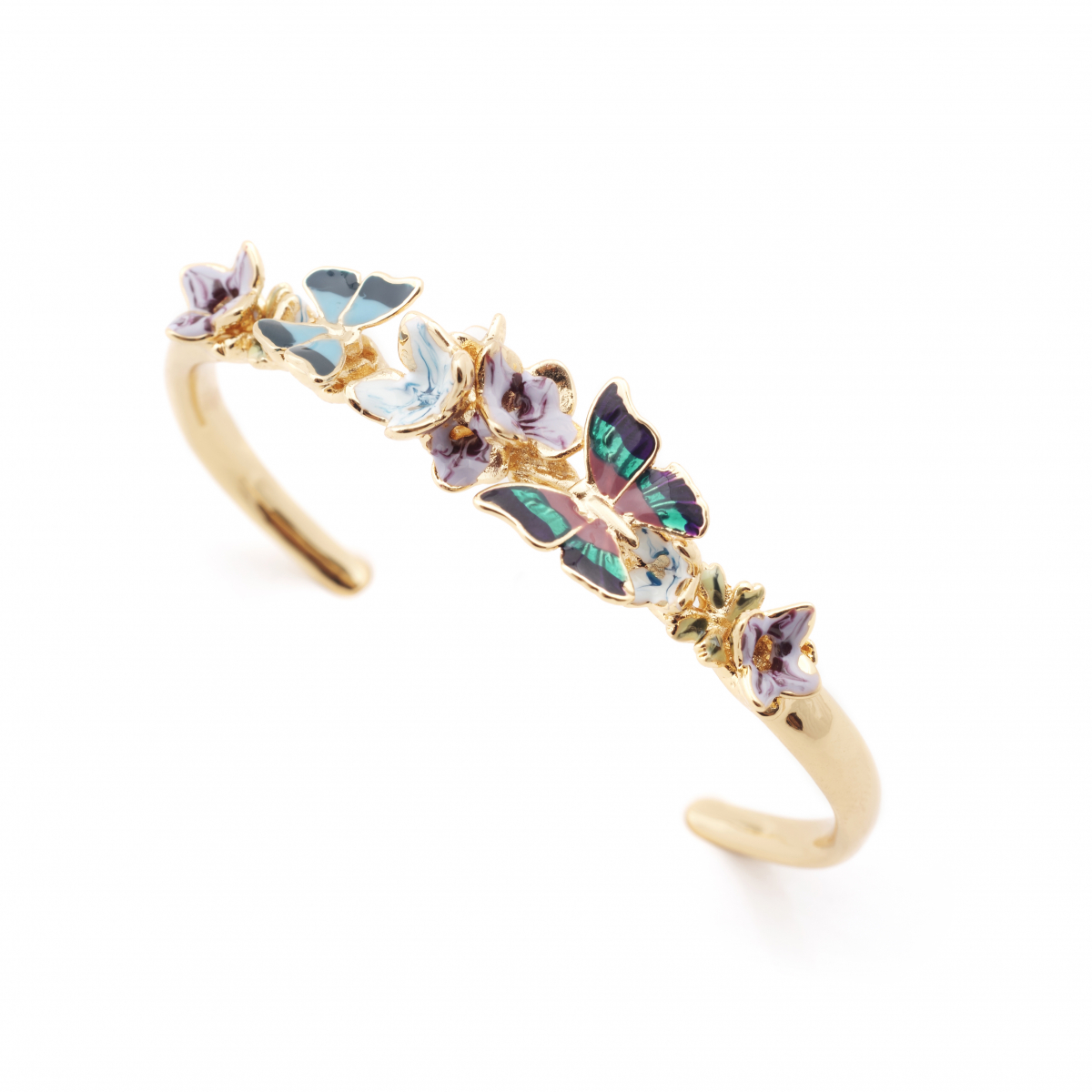 Butterfly Floral Cuff - Gold
