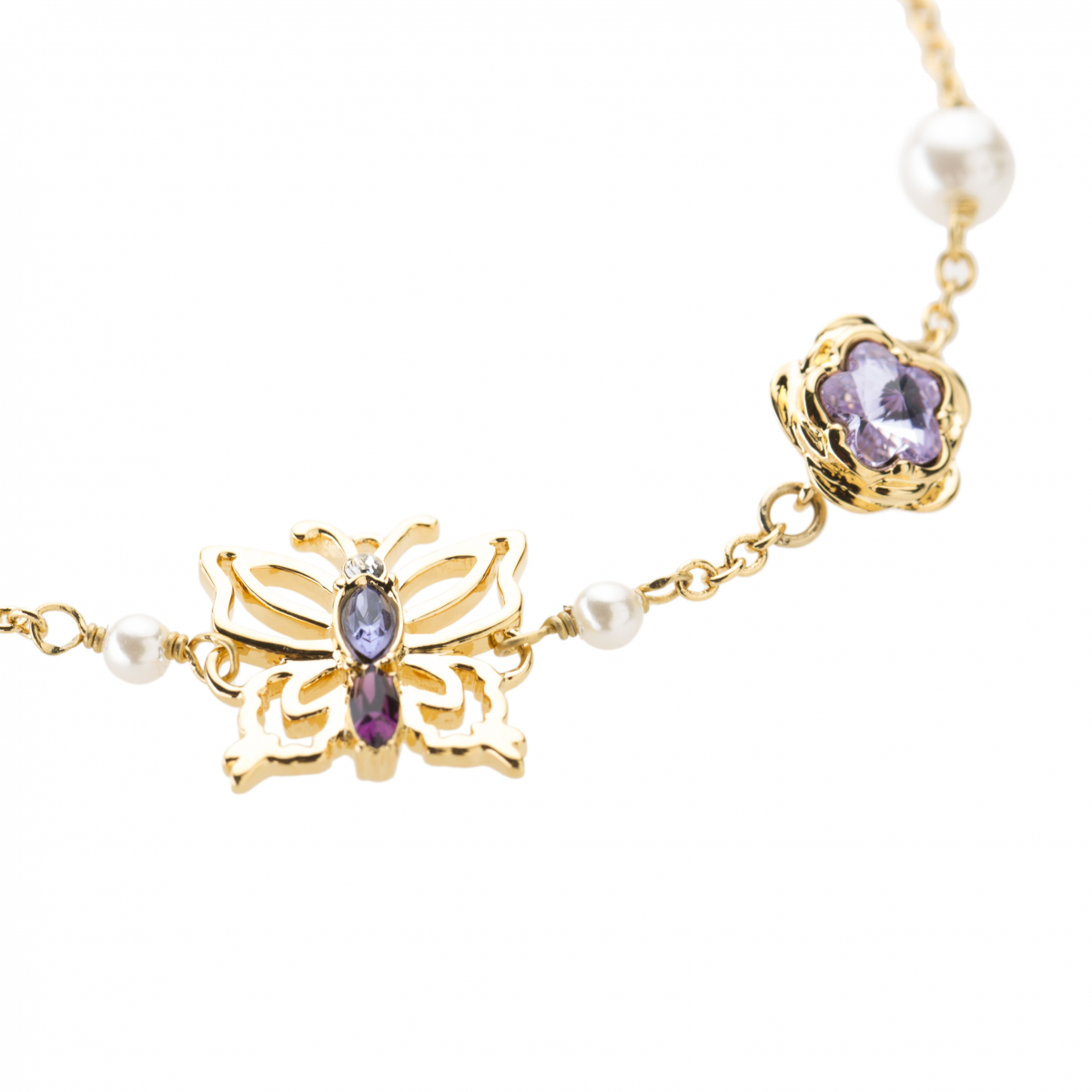 Botanical Butterfly & Flower Bracelet - Gold