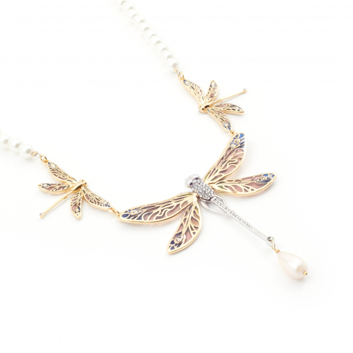 Archive Dragonfly Pearl Necklace