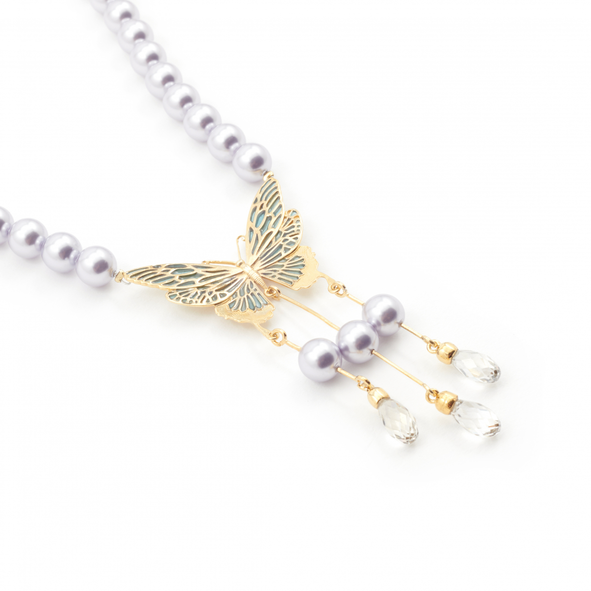 Archive Butterfly & Lilac Pearl Necklace