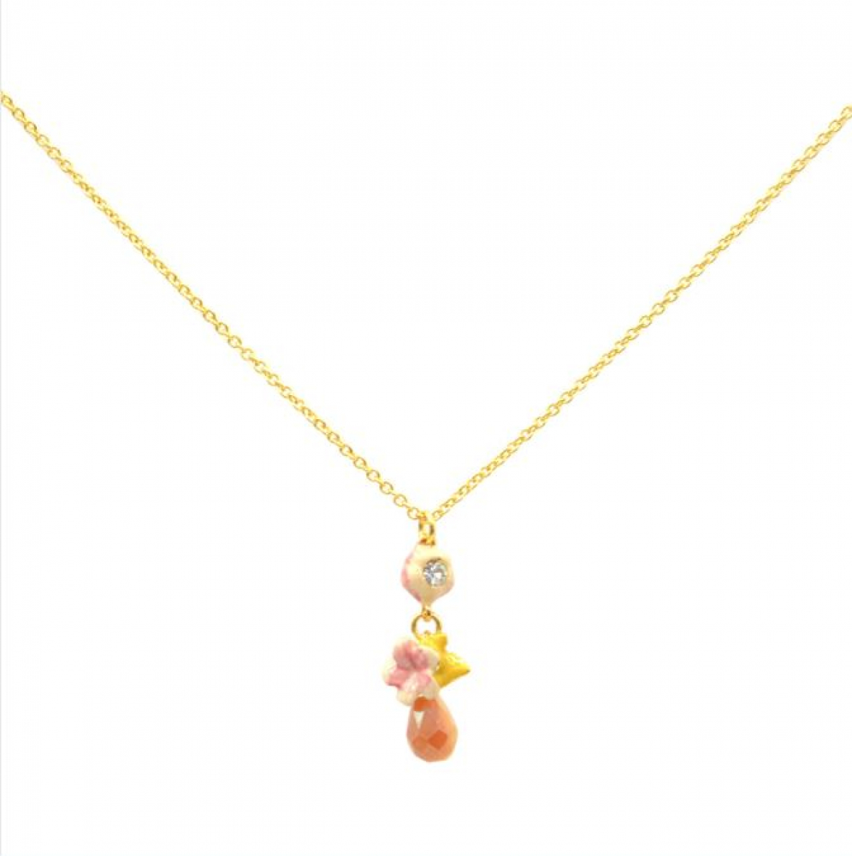 Cherry Blossom Drop Bud Necklace