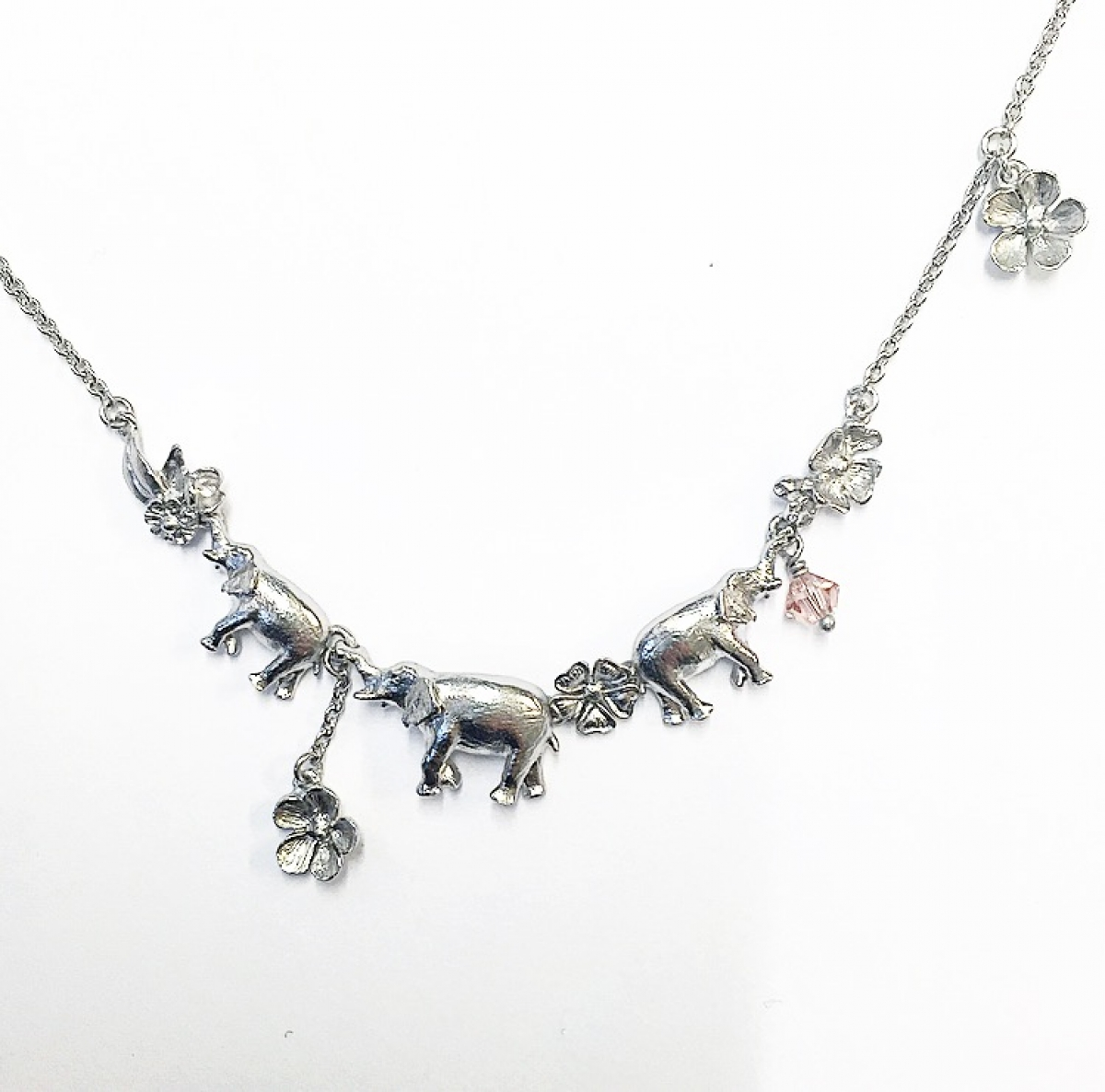Elephant Family Necklace (Rhodium)