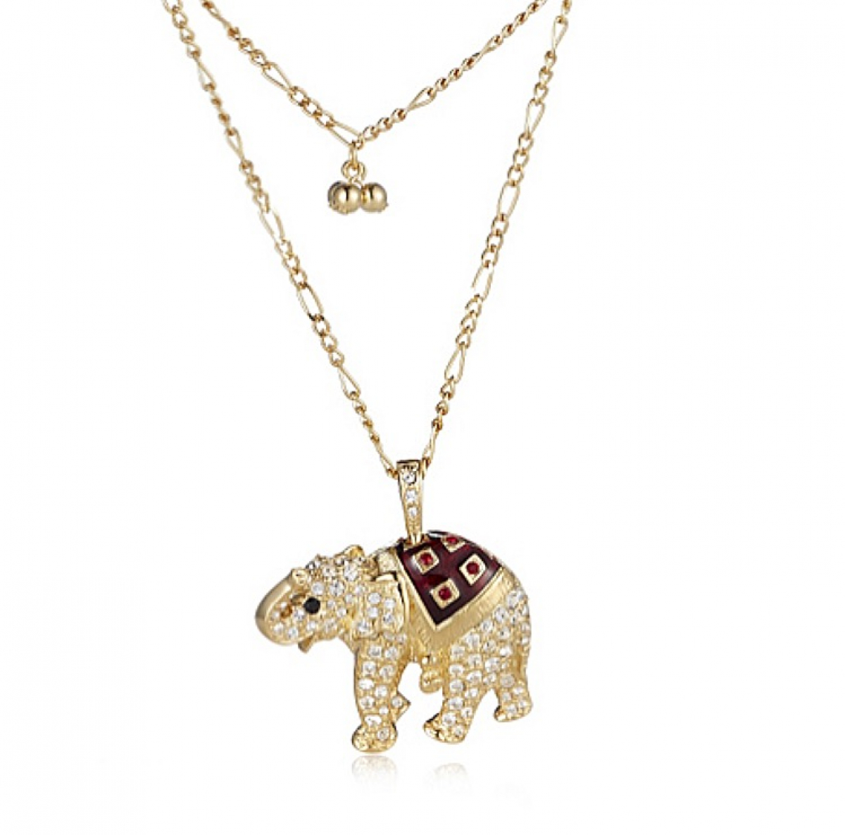 Elephant Crystal Necklace - Gold