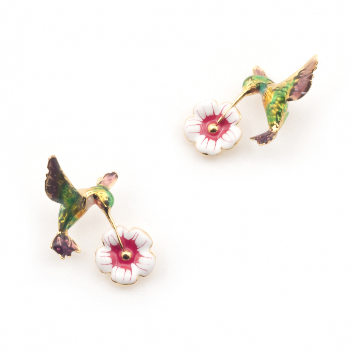 Hummingbird & Flower Studs