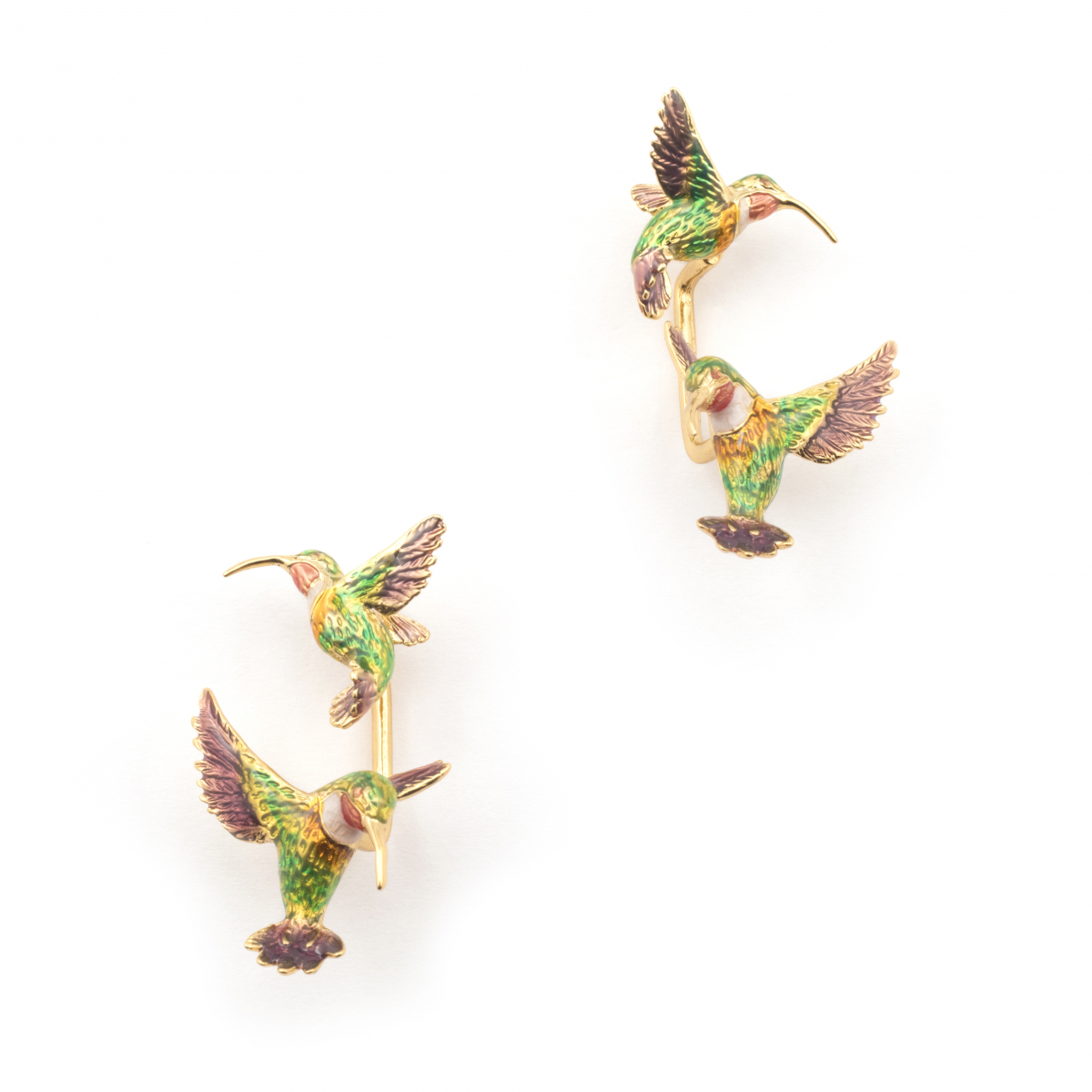 Double Hummingbird Through Earring