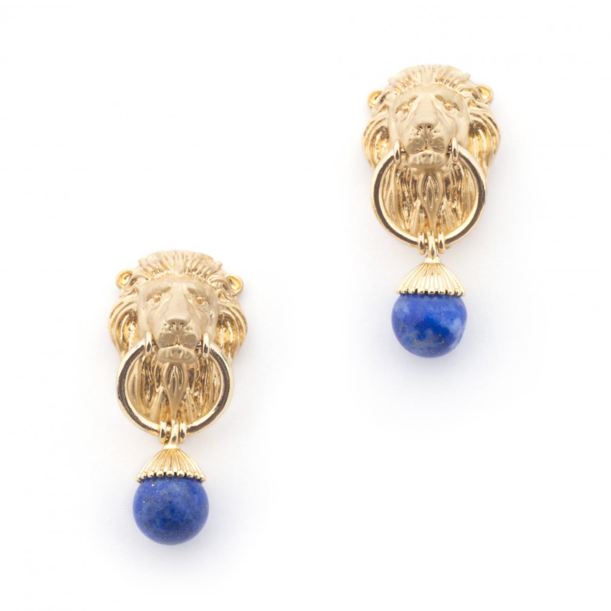 Lion & Lapis Drop Earrings