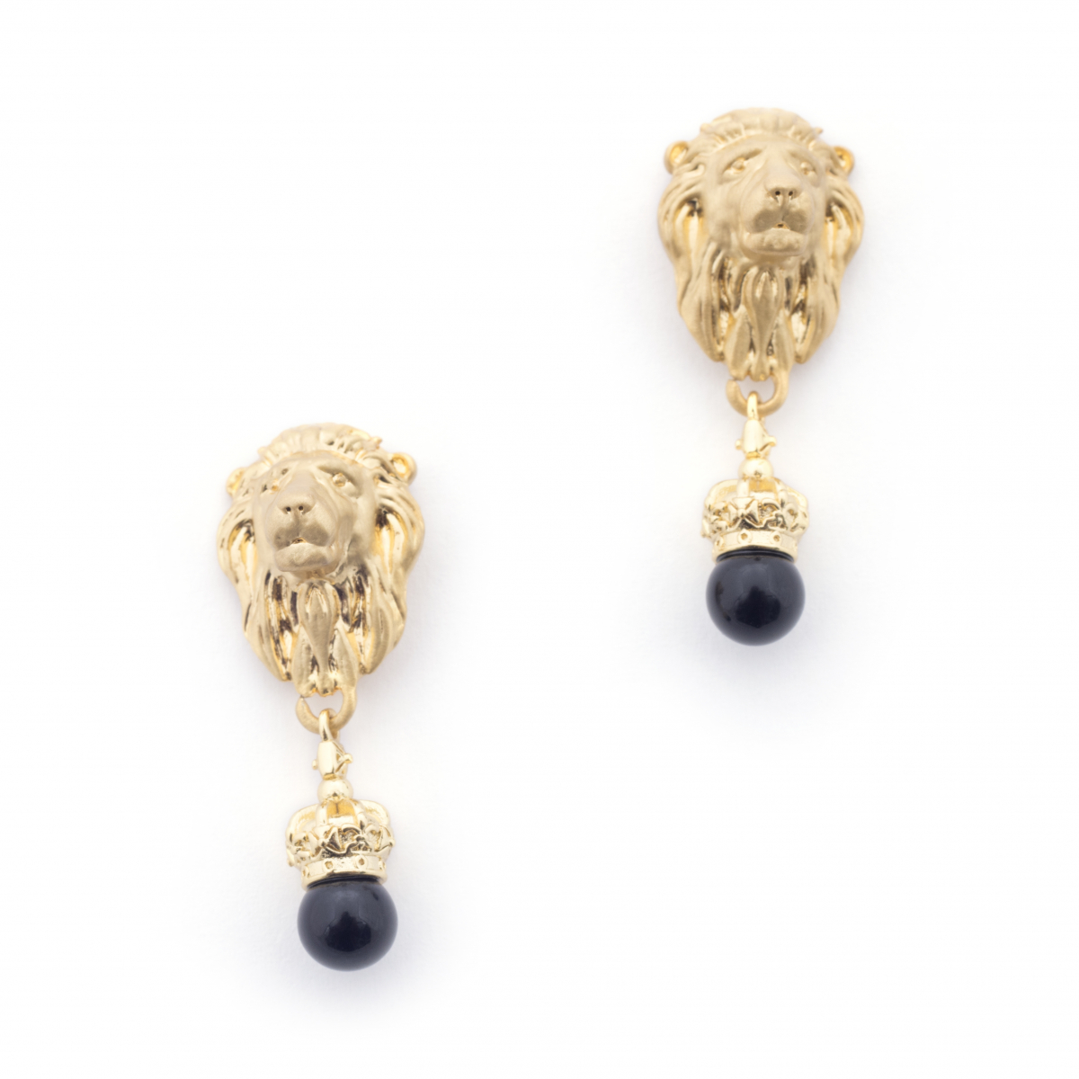Lion Crown Drop Earrings - Onyx