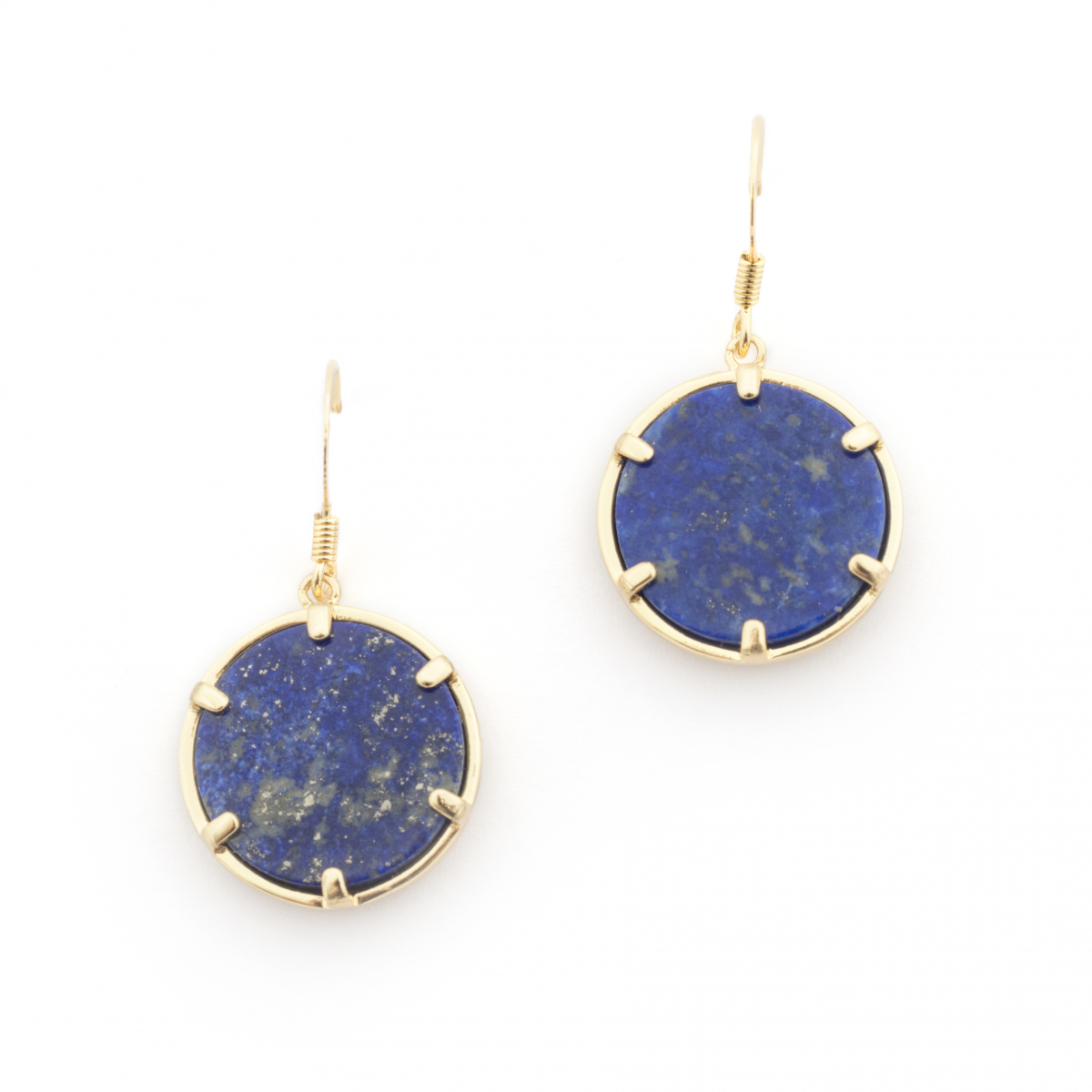 Filigree Disc Earrings - Lapis