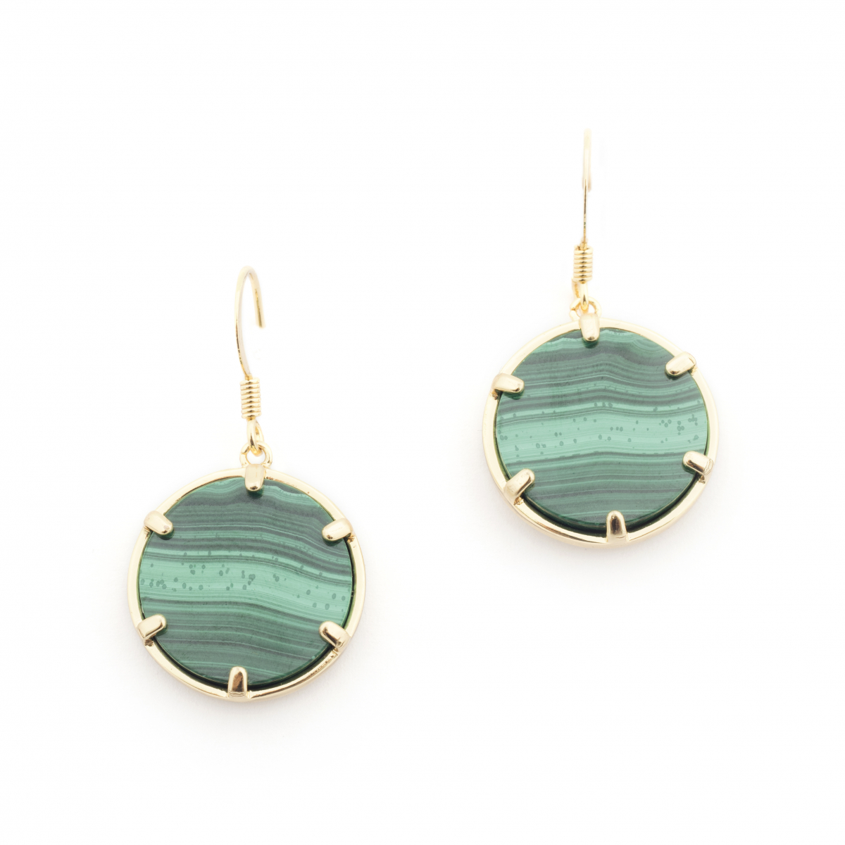 Filigree Disc Earrings Malachite Fashion Jewellery