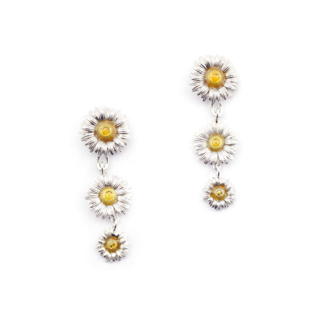 Daisy Chain Earrings - Rhodium
