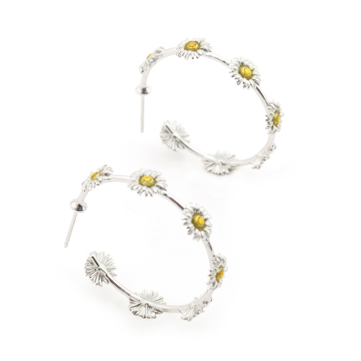 Daisy Hoop Earrings - Rhodium