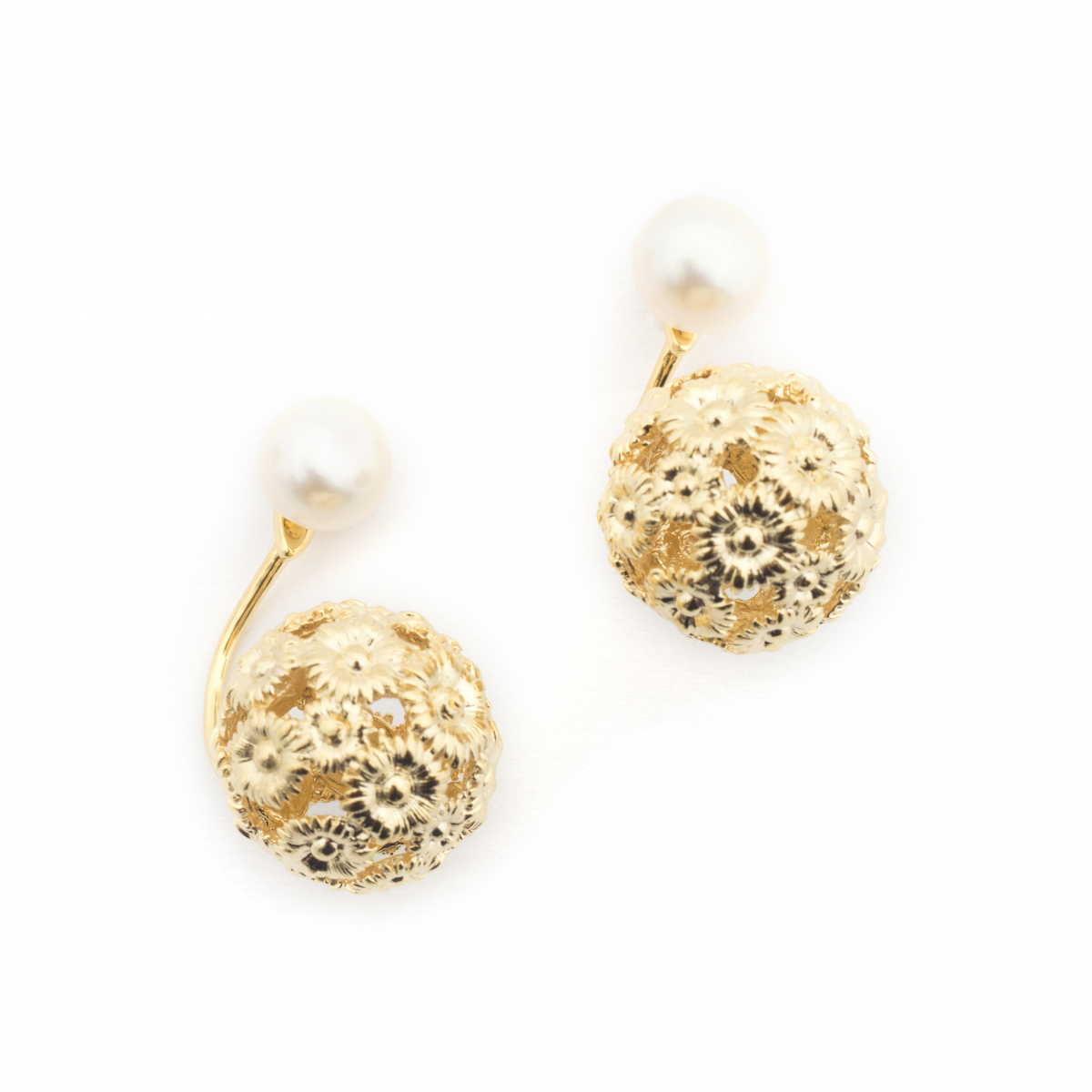 Daisy & Pearl Through Earrings - Gold