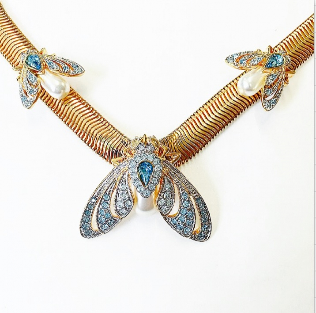 JEWELLED MOTH STATEMENT NECKLACE