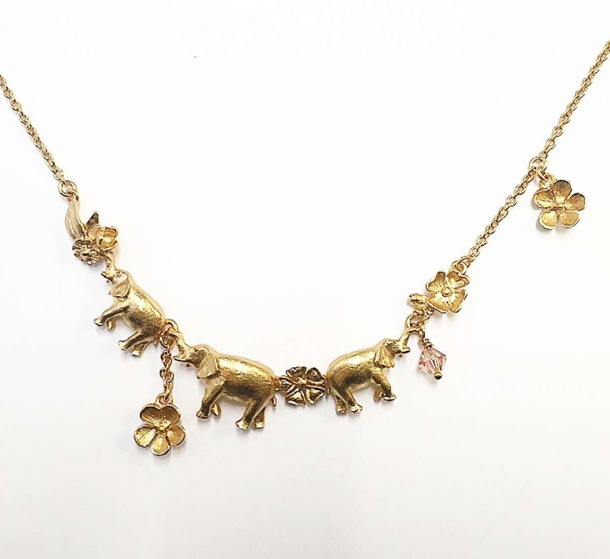 Elephant Family Necklace (Gold)