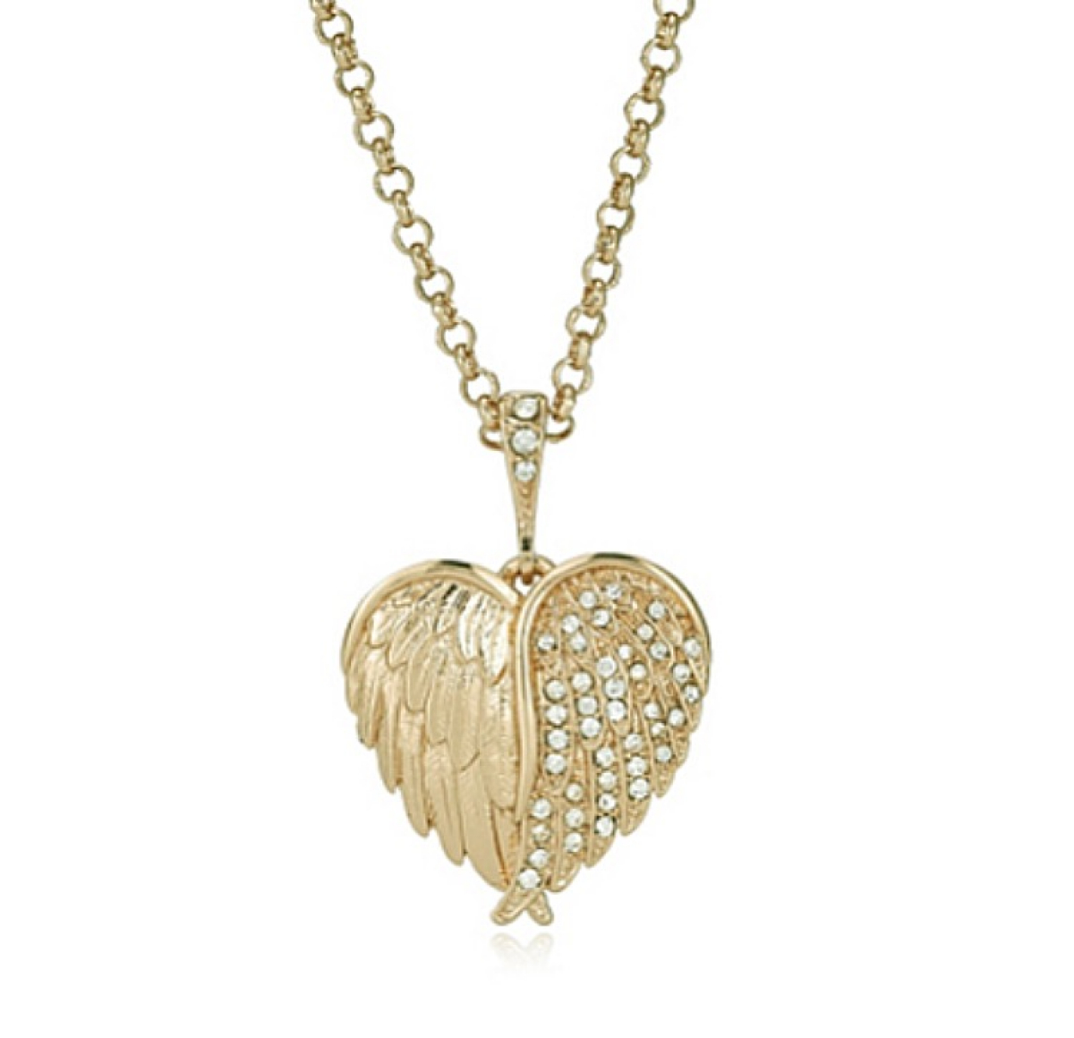 Hidden Cherub Heart Pendant Gold