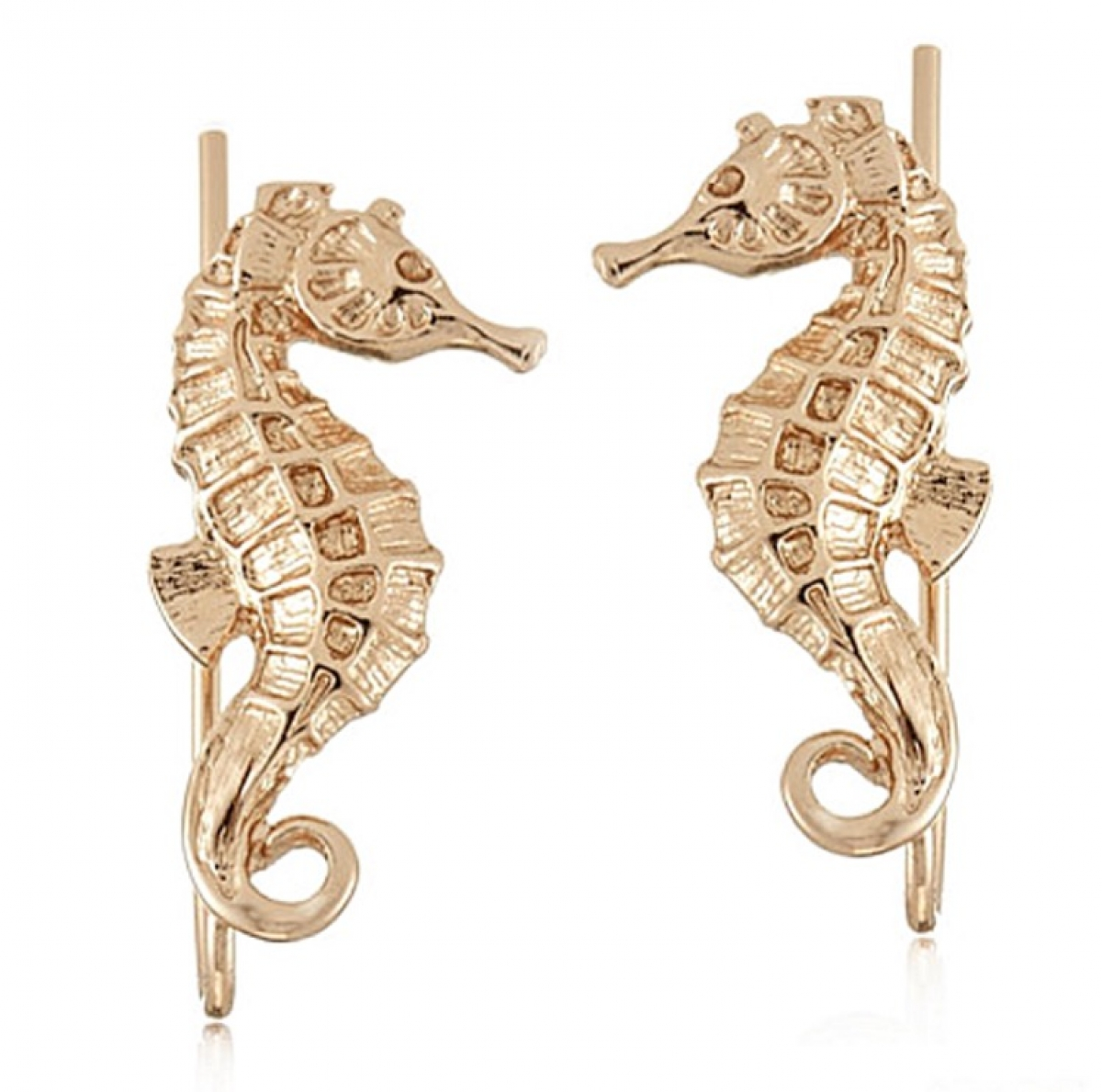 Seahorse Climber Earrings Gold