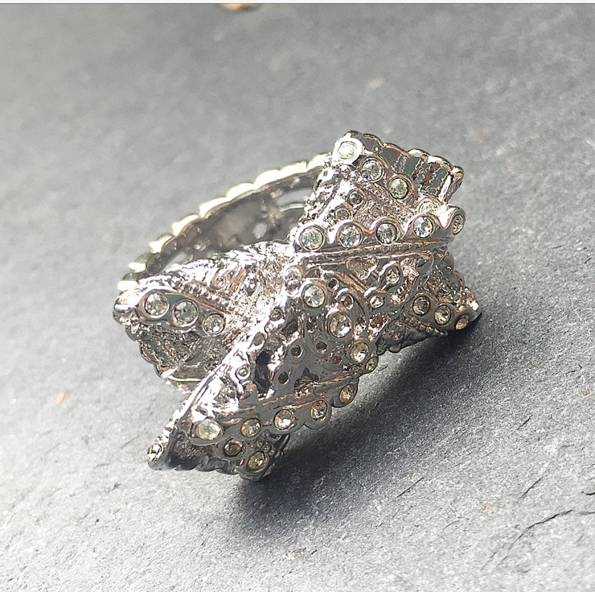 Vintage Lace Ring -Rhodium
