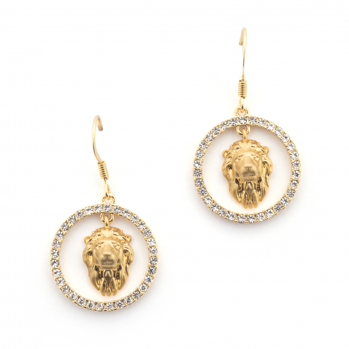 Lion Crystal Hoop Earrings