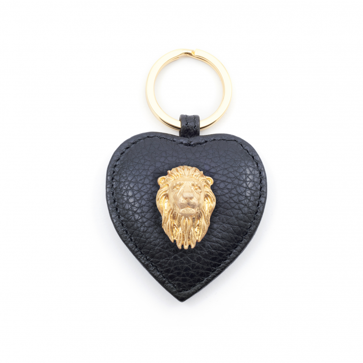 Lion Leather Keyring - Black