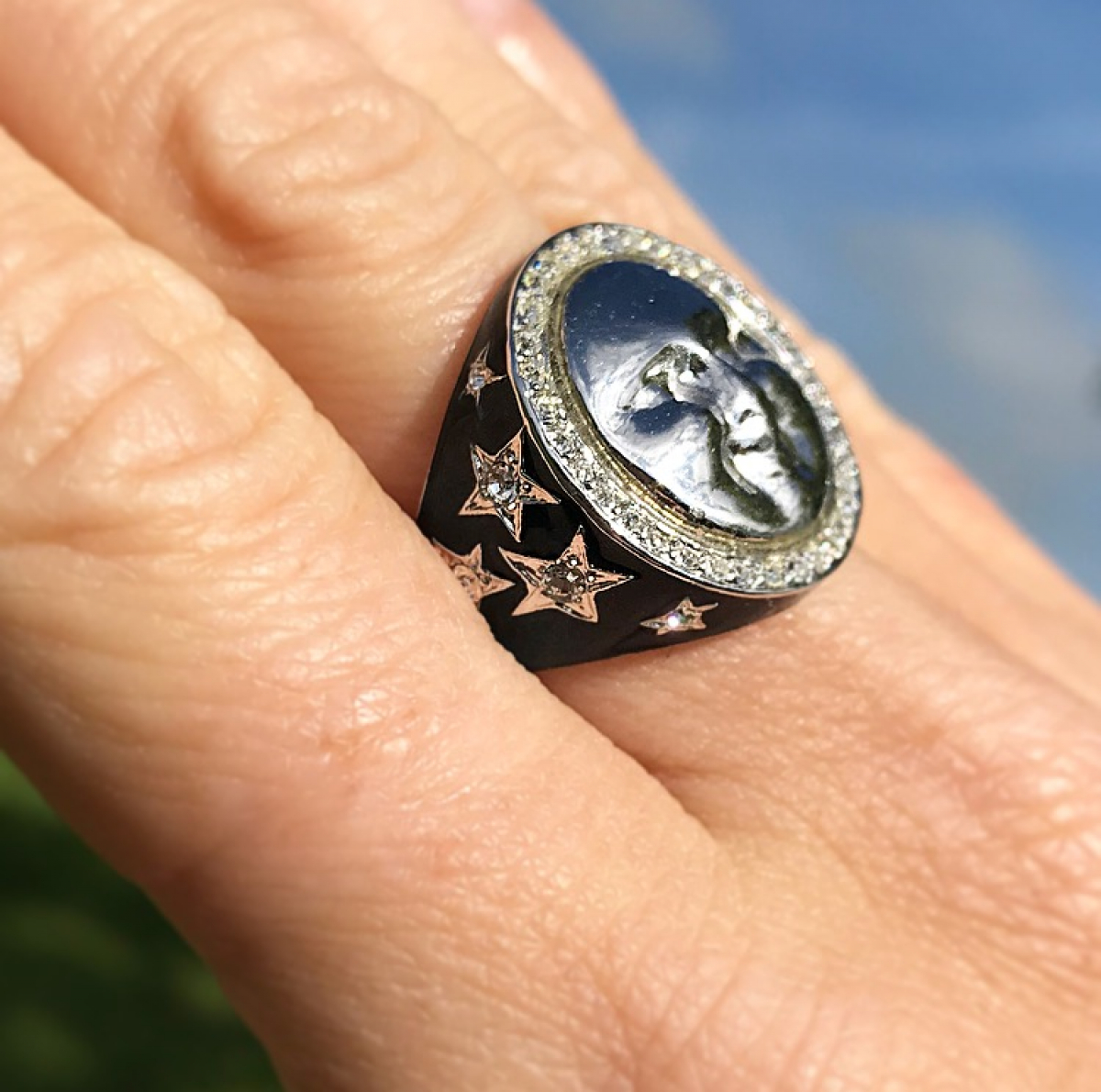 Archive Moon & Star Statement Ring - Medium size only