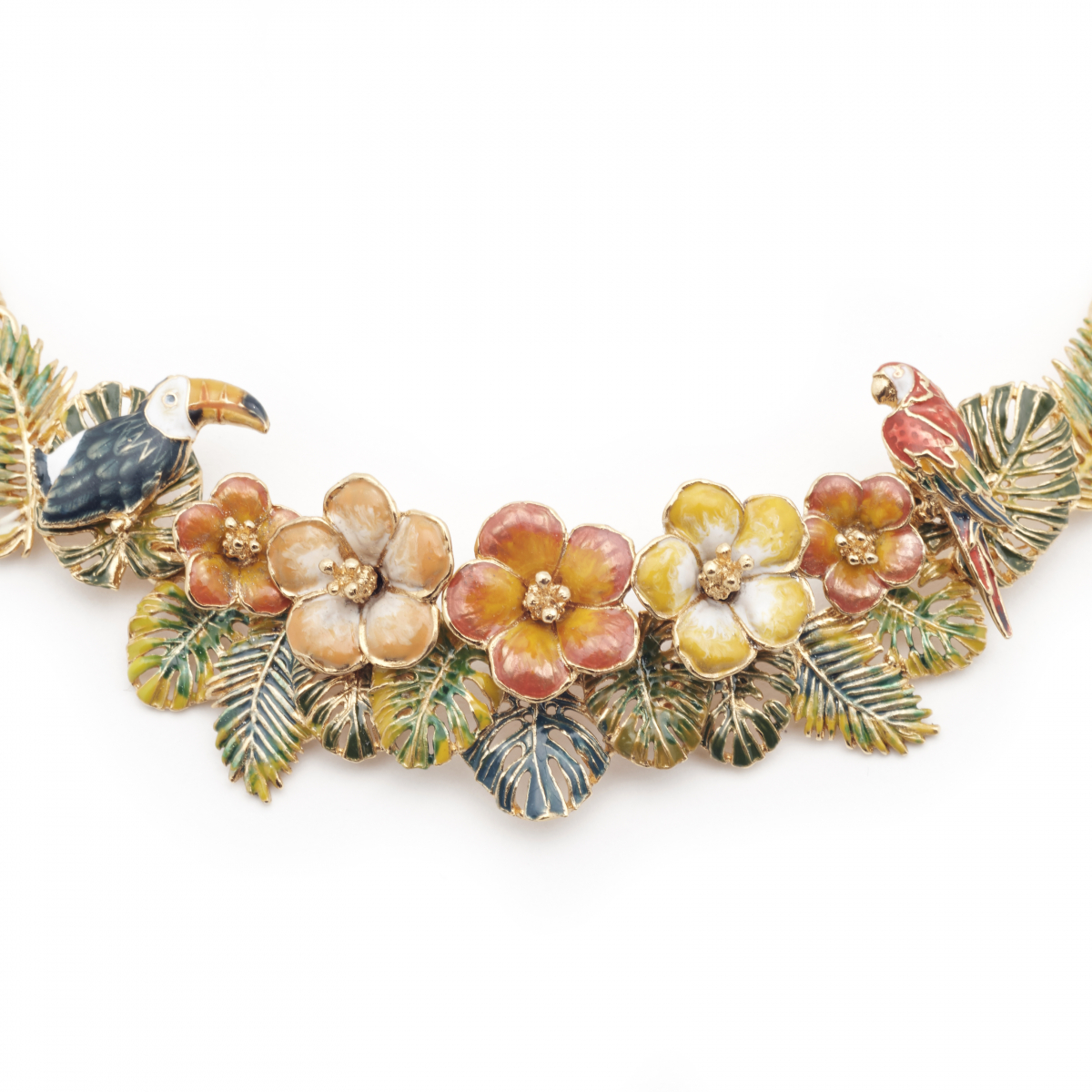 Tropical Statement Necklace - Gold