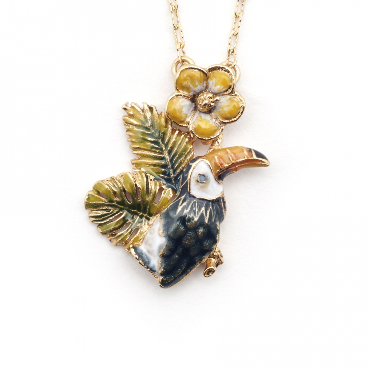 Tropical Toucan Flower Pendant - Gold