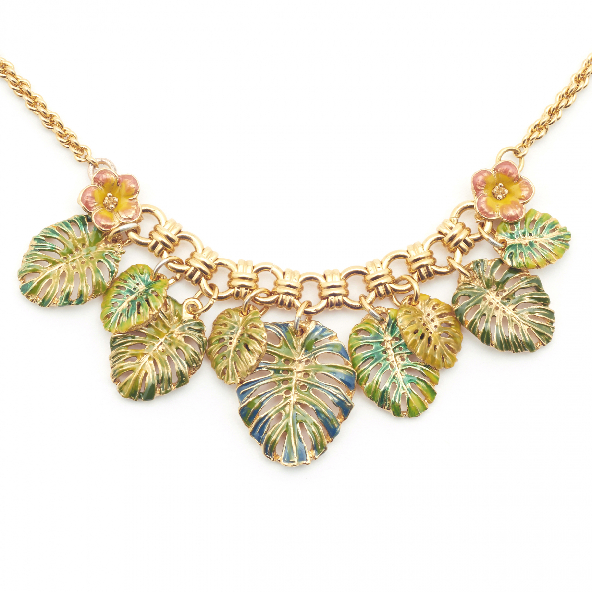 Tropical Leaves Necklace - Gold