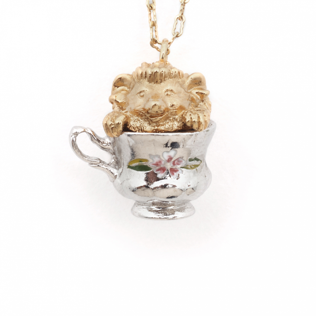 Tea Party Hedgehog Pendant - Mini