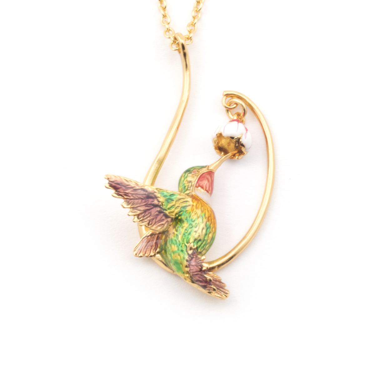 Long Swooping Hummingbird Necklace