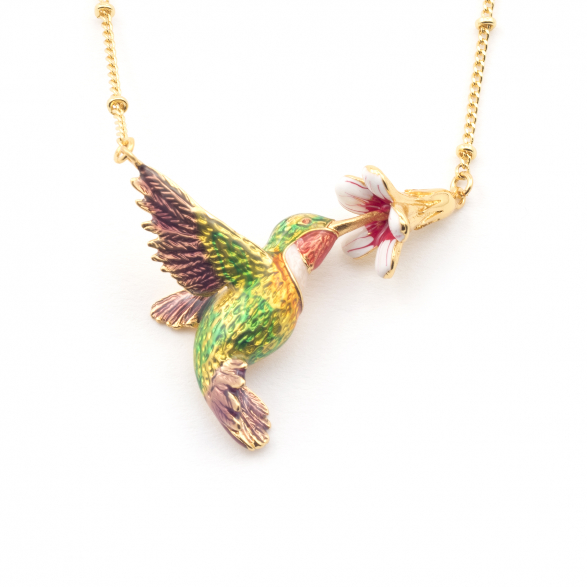 8071aa523 Hummingbird & Trumpeting Flower Necklace | Fashion Jewellery
